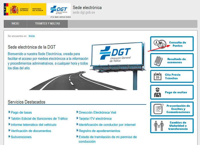 Consulta de puntos del carnet en la DGT